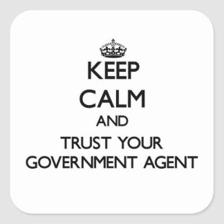 Keep Calm and Trust Your Government Agent Square Stickers