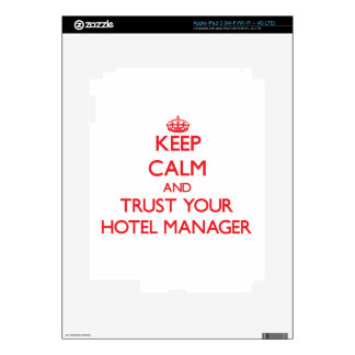 Keep Calm and trust your Hotel Manager iPad 3 Decals