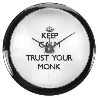 Keep Calm and Trust Your Monk Aquarium Clocks