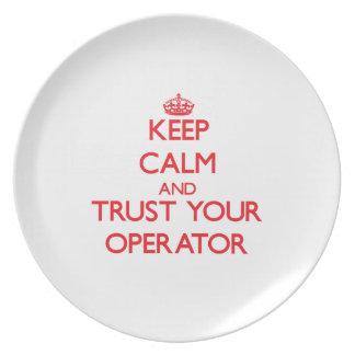 Keep Calm and Trust Your Operator Party Plate