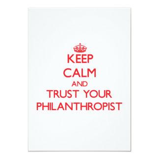 "Keep Calm and trust your Philanthropist 5"" X 7"" Invitation Card"
