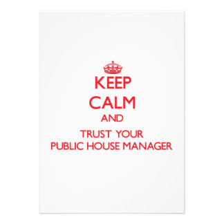 Keep Calm and trust your Public House Manager Card