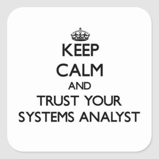 Keep Calm and Trust Your Systems Analyst Square Sticker