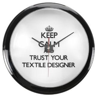 Keep Calm and Trust Your Textile Designer Aquarium Clocks
