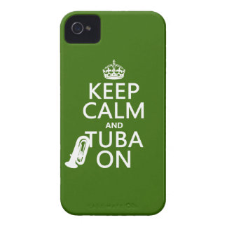 Keep Calm and Tuba On any background color Case-Mate iPhone 4 Case