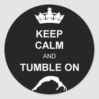Keep calm and tumble classic round sticker
