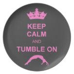 Keep calm and tumble gymnast dinner plate