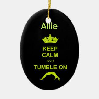 Keep Calm and Tumble gymnast green ornament