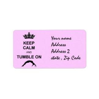 Keep calm and tumble gymnast label