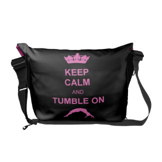 Keep calm and tumble gymnast messenger bag