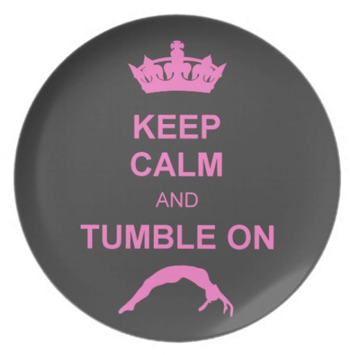 Keep calm and tumble gymnast plate