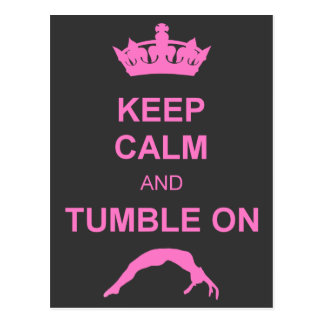 Keep calm and tumble gymnast postcard