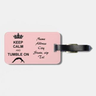 Keep calm and tumble gymnast tag for luggage