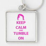 Keep Calm and Tumble On Silver-Colored Square Keychain