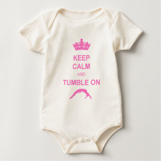 Keep calm and tumble pink baby bodysuit