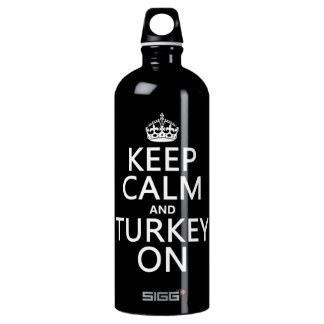 Keep Calm and Turkey On (christmas) Water Bottle