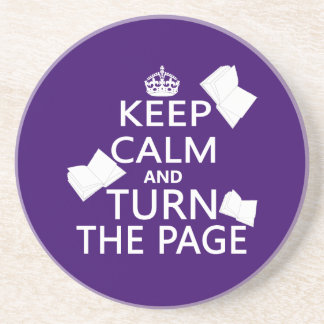 Keep Calm and Turn The Page Beverage Coasters