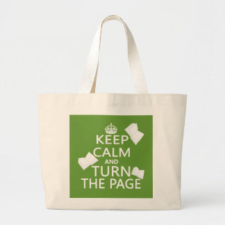 Keep Calm and Turn The Page Large Tote Bag