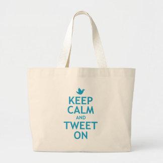 Keep Calm and Tweet On Jumbo Tote Bag