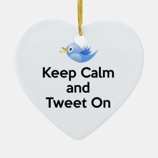 Keep Calm and Tweet On, Bluebird Ceramic Ornament
