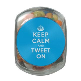 Keep Calm and Tweet On Glass Candy Jars