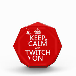 Small Acrylic Octagon Award with Keep Calm and Twitch On design