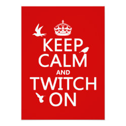 5.5' x 7.5' Invitation / Flat Card with Keep Calm and Twitch On design