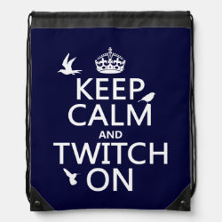 Drawstring Backpack with Keep Calm and Twitch On design