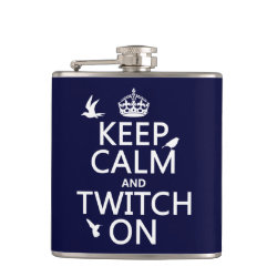 Vinyl Wrapped Flask, 6 oz. with Keep Calm and Twitch On design
