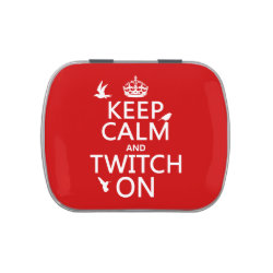 Rectangle Jelly Belly™ Candy Tin with Keep Calm and Twitch On design