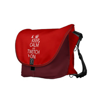 Keep Calm and Twitch On (any background color) Courier Bags