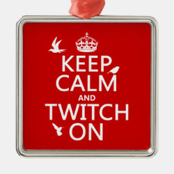 Premium Square Ornament with Keep Calm and Twitch On design