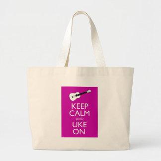 Keep Calm and Uke On (Fuschia) Jumbo Tote Bag