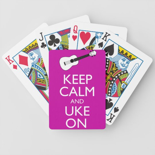 Keep Calm and Uke On (Fuschia) Bicycle Playing Cards
