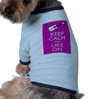 Keep Calm and Uke On (Fuschia) Dog Shirt
