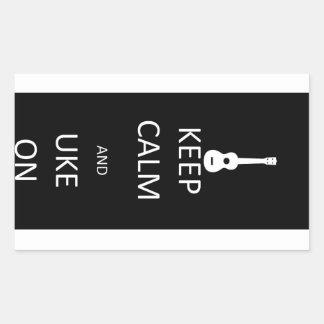 Keep Calm and Uke On Rectangular Sticker