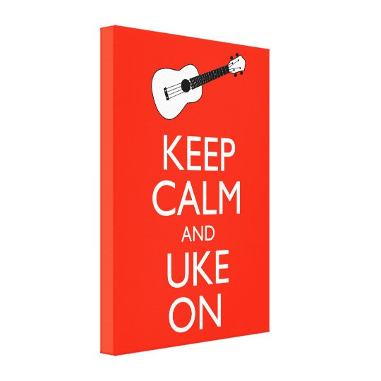 Keep Calm and Uke On Red Ukulele Canvas Art Print