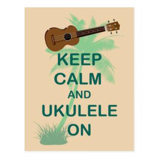 Keep Calm and Ukulele On Unique Fun Print Postcard