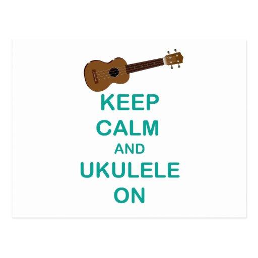 Keep Calm and Ukulele On Unique Hawaii Fun Print Postcard