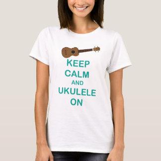 Keep Calm and Ukulele On unique Hawaii fun print T-Shirt