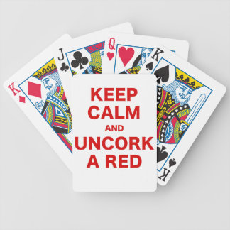Keep Calm and Uncork a Red Bicycle Playing Cards