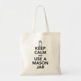 Keep Calm and use a Mason Jar black text Tote