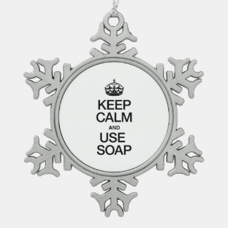 KEEP CALM AND USE SOAP SNOWFLAKE PEWTER CHRISTMAS ORNAMENT