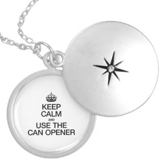 KEEP CALM AND USE THE CAN OPENER ROUND LOCKET NECKLACE