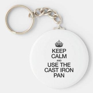 KEEP CALM AND USE THE CAST IRON PAN KEYCHAIN