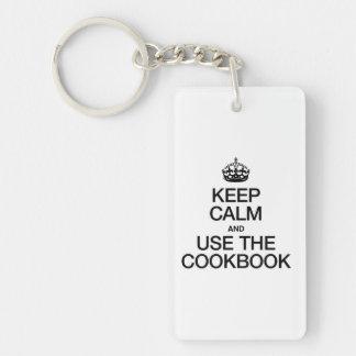 KEEP CALM AND USE THE COOKBOOK Double-Sided RECTANGULAR ACRYLIC KEYCHAIN