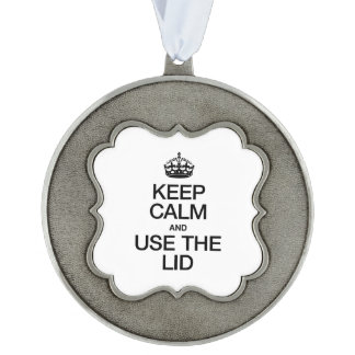 KEEP CALM AND USE THE LID SCALLOPED ORNAMENT
