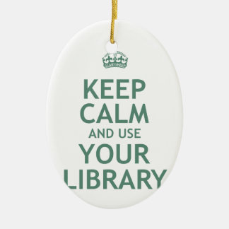 Keep Calm and Use Your Library Double-Sided Oval Ceramic Christmas Ornament