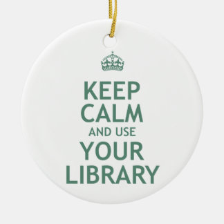 Keep Calm and Use Your Library Double-Sided Ceramic Round Christmas Ornament