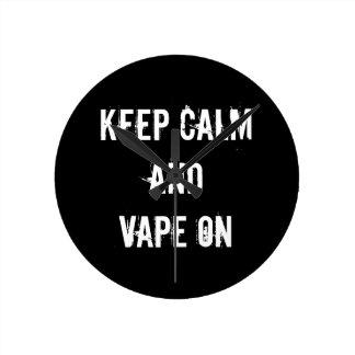 Keep Calm and Vape On Wallclocks
